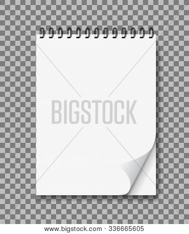 Realistic Notebook In Mockup Style. Blank Notepad With Spiral And Curled Corner. Template Empty Note