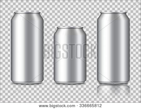 Aluminium Can Mockup For Energy Drink, Cola, Soda, Beer, Juice. Metal Or Steel Packaging For Beverag