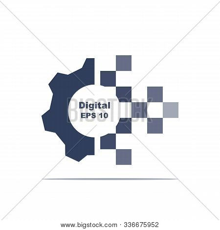 Digital Transformation Icon. Gray Gear. Technology Concept. Electronic Information. Vector Illustrat