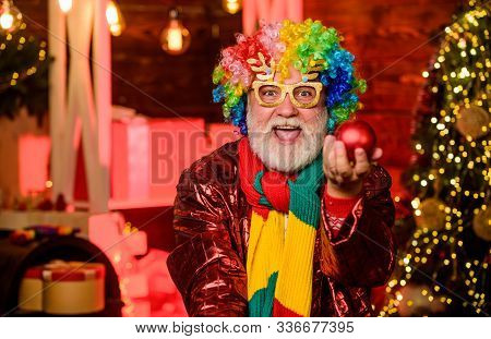 Christmas Decorations Home. Party Entertainment. Christmas Spirit. Cheerful Clown Colorful Hairstyle