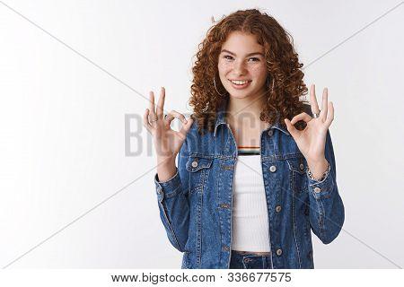 Easy Okay. Portrait Self-assured Assertive Good-looking Ginger Girl Freckles Pimples Wearing Denim J