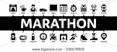 Marathon Minimal Infographic Web Banner Vector. Human Athlete Silhouette Running And Uniform, Sport