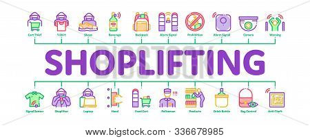 Shoplifting Minimal Infographic Web Banner Vector. Video Camera And Guard Security From Shoplifting,