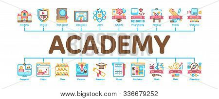 Academy Educational Minimal Infographic Web Banner Vector. Academy Building And Uniform, Book And Pa