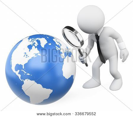 3d White People Illustration. Businessman Looking At The Earth With A Magnifying Glass. Isolated Whi