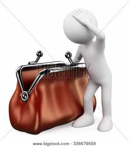 3d White People Illustration. Man With Hand Into An Empty Wallet. Isolated White Background.