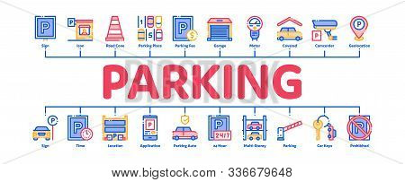 Parking Car Minimal Infographic Web Banner Vector. Garage And Parking Mark, Video Camera And Automat