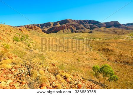 The Vastness Of Ormiston Gorge At Lookout During The Ormiston Pound Walk In West Macdonnell Ranges.