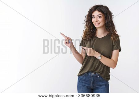 Cute Curious Girlfriend Asking Question What There Pointing Interested Left Indicate Index Fingers S