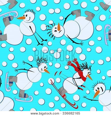 Seamless Texture, Pattern - Snowmen And Winter Fun - Ice Skates, Skis And Snowballs, It Is Snowing