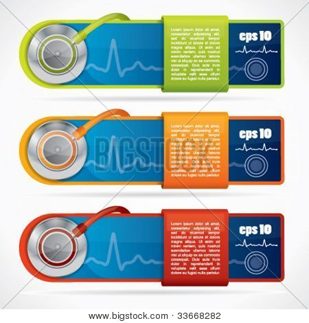 Modern web2 medical banner set with stethoscope and reflection