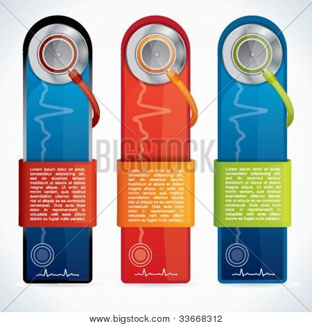 Colorful web2 medical banner set with stethoscope