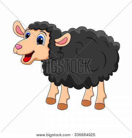 Black Sheep Cute Smilng Funny Sweet Lamb. Smiling Happy Character Of Animal In Cartoon Style For Des