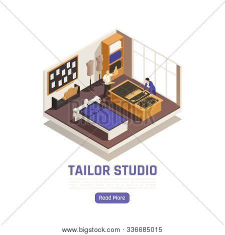 Fashion Atelier Haute Couture Studio Interior Isometric View With Designer And Tailor Tracing Garmen