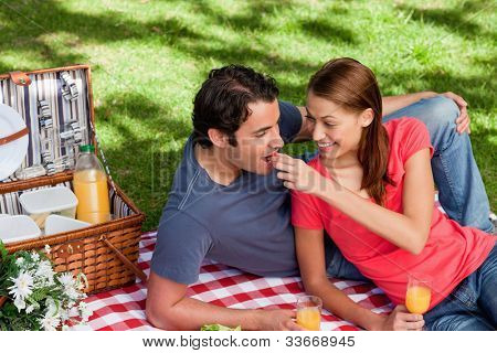 Woman putting food into her friends mouth as they lie on a blanket with a picnic basket,food and flowers