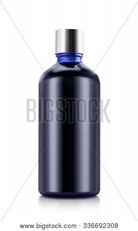 Blank Packaging Blue Glass Botle With Silver Cap For Cosmetic Product Design Mock-up Isolated On Whi
