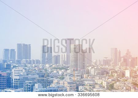 Cityscape, Modern Building On A Blue Background. City Blurred Lights Background After Sunset. Panora