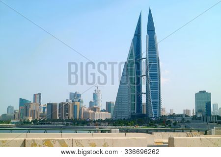 Manama / Bahrain - Oct 14th 2019 : Cityscape Of Manama With Incredible Bahrain World Trade Center Or