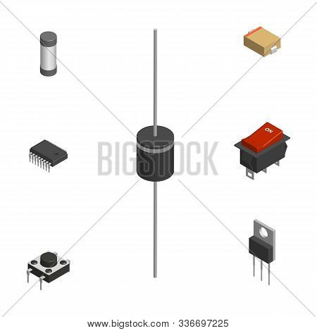Set Of Different Active And Passive Electronic Components Isolated On White Background. Resistor, Ca
