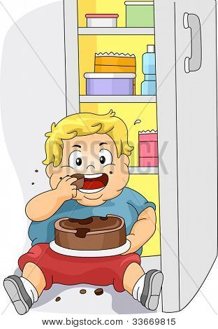 Illustration of an Overweight Boy Eating Cake