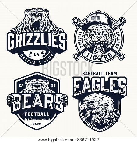 Vintage Soccer And Baseball Clubs Logos With Aggressive Ferocious Tiger Bear And Eagle Mascots In Mo