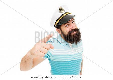 Sailor Spirit Born Free. Bearded Sailor Isolated On White. Sailor Or Seaman Point Finger. Work As Sa