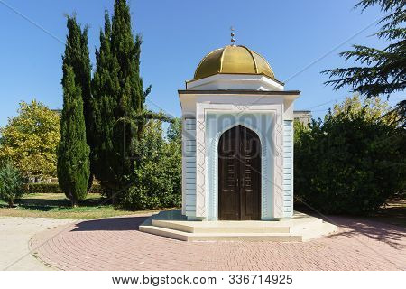 Blue And White Muslim Durbe With A Golden Dome In Marshal Sokolov Square In Yevpatoria, Crimea. Sunn