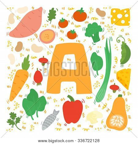 Vitamin A Flat. Hand Drawn Illustration Of Different Food Rich Of Vitamin A. Set Of Food With Vitami