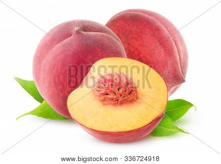 Isolated Peaches. Two And A Half Pink Peach Fruits Isolated On White Background With Clipping Path