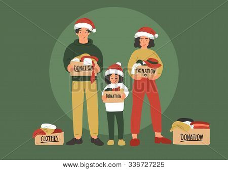 Christmas Clothes Donation. Cute Hand Drawn Family
