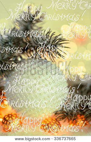 Christmas Holiday Greeting Card. Beautiful Ball With Nacre Pearls, Pine Branches And A Garland In Th