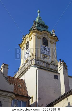 Tower Of Old Town Hall (stara Radnica) On The Central Square (hlavne Namestie) Of Bratislava, Slovak