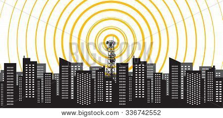 Radio Tower Irradiate The City. Tower Transmitter 5g. Vector Illustration