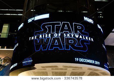 Bangkok, Thailand - Nov 30, 2019: Star Wars The Rise Of Skywalker Movies Logo Advertising On Led Dis