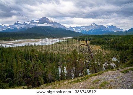 Panoramic Image Of The Saskatchewan River, Icefield Parkway, Banff National Park, Alberta, Canada