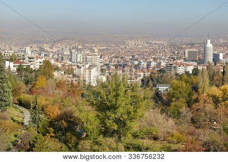 Ankara in autumn foliage - Ankara cityscape with botanic park and other city monuments - Ankara, Turkey