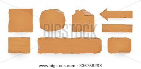 Cardboard Sign. Cardboard Pieces Template. Isolated Vector Illustration
