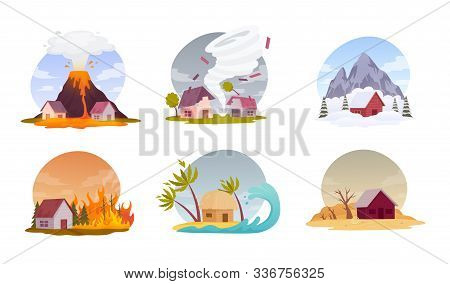 Natural Disasters. Collection Images With Cataclysms Volcanic Eruption, Hurricane, Snow Avalanche, F