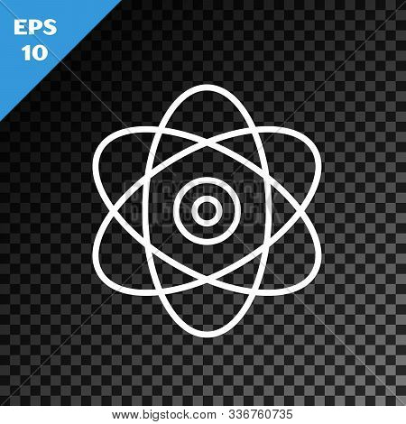White Line Atom Icon Isolated On Transparent Dark Background. Symbol Of Science, Education, Nuclear