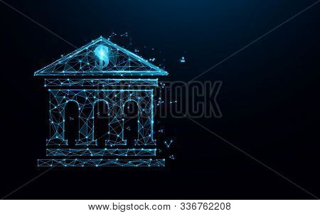 Bank Building Icon Form Lines, Triangles And Particle Style Design. Illustration Vector