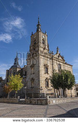 Close-up Of Saint Tomas Apostle Church In The City Of Orgaz. Toledo Province. Castilla La Mancha Com
