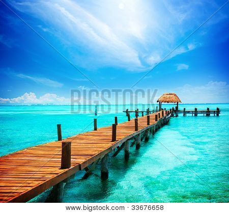 Paradise. Vacations And Tourism Concept. Tropical Resort. Jetty on Isla Mujeres, Mexico,Cancun