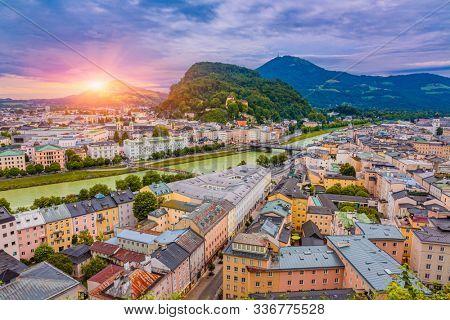 Aerial View Of Salzburg Old City At Sunrise , Salzburg Cityscape View, Austria