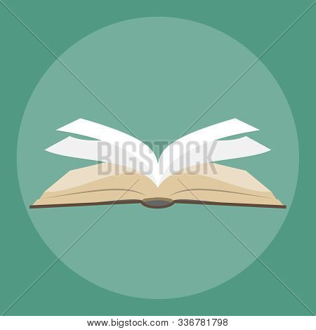 Open Book Literature Icon. Text Book Open Isolated Icon. Brawn Open Book With White Pages.