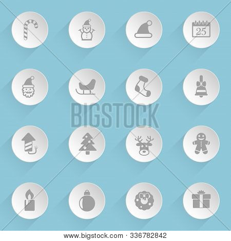 Christmass Web Icons On Light Paper Circles