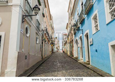 Bright Sunny View Of The Historic Tourist Center Of Pelourinho, Salvador Da Bahia, Brazil Featuring