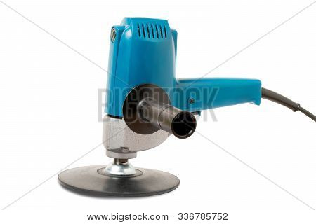 Car Polishing Machine With Buffing Plate Isolated  ,on The White Background