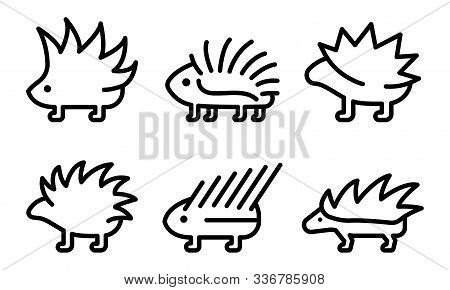 Porcupine Icons Set. Outline Set Of Porcupine Vector Icons For Web Design Isolated On White Backgrou
