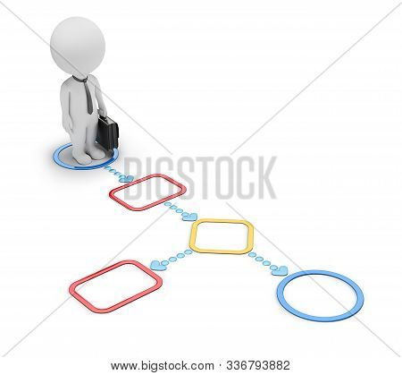 3d Small People - Businessmen  In Flowchart. 3d Image. White Background.