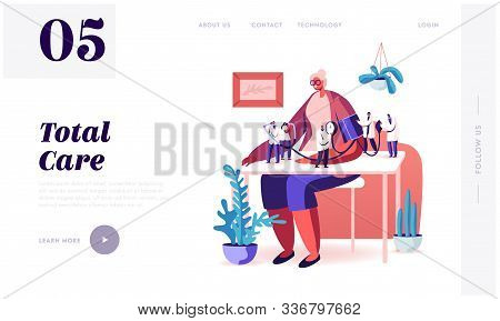 Health Care Check Up. Website Landing Page. Tiny Doctors Characters Measuring Arterial Blood Pressur